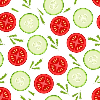 Fette fresche di pomodori e cetrioli senza cuciture su fondo bianco
