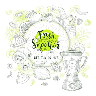 Frullato fresco, logo di bevande salutari. vettore, stile schizzo. disegno di lettere. logotipo di calligrafia. frutta, fragola, banana, anguria, limone, arancia, mela, ananas, frullatore.