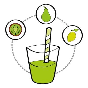 Kiwi e kiwi freschi del limone della frutta della bevanda del succo del frullato Vettore Premium