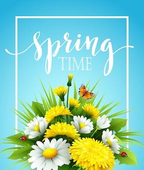 Sfondo primavera fresca con erba, denti di leone e margherite. illustrazione