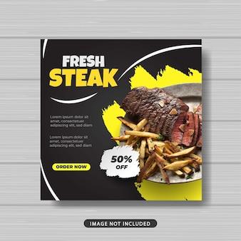 Bistecca fresca cibo social media post template banner