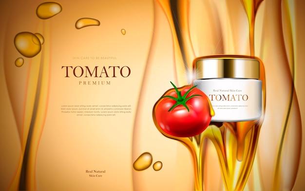 Modello di pacchetto cosmetico di pomodoro fresco con essenza di olio