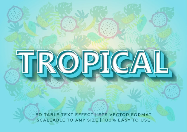 Effetto testo titolo arte tropicale fresca 3d