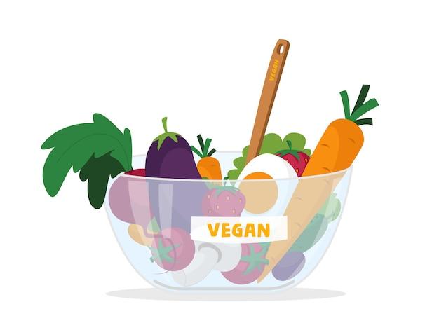 Prodotti vegani freschi cibo in ciotola di vetro