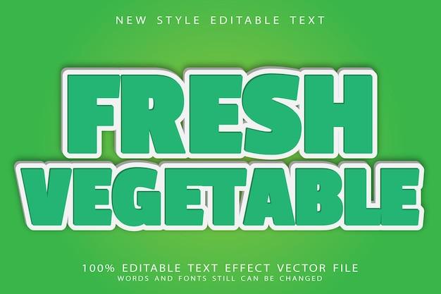 L'effetto di testo modificabile di verdure fresche in rilievo in stile moderno