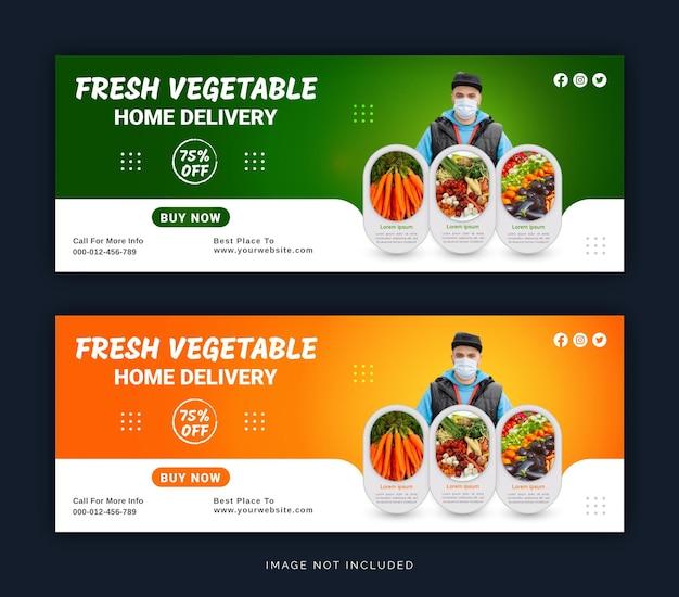 Modello di post di copertina di facebook per social media con consegna a domicilio di verdure fresche