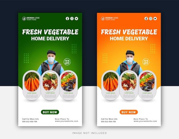Modello di post per social media con consegna a domicilio di verdure fresche