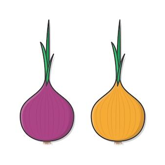 Illustrazione di cipolla di verdure fresche.