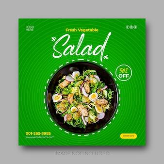 Insalata di verdure fresche e cibo post sui social media