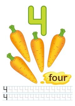 Foglio di lavoro di carote di verdure fresche per asilo nido e scuola materna