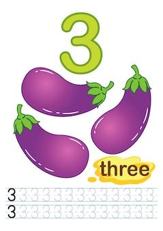 Foglio di lavoro di melanzane di verdure fresche per scuola materna e scuola materna