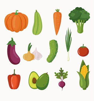 Verdure fresche isolate su uno sfondo bianco. cibo sano di concetto. piatto del fumetto di vettore.