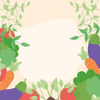 Cornice di prodotti di verdure fresche