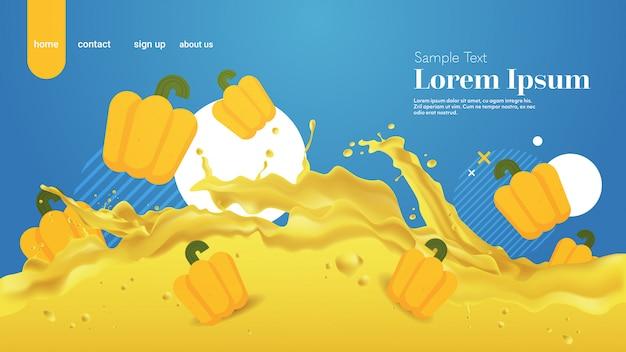 Spruzzata liquida fresca del succo di pepe giallo realistico spruzza lo spazio orizzontale della copia delle onde di spruzzatura delle verdure sane