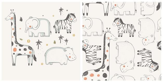Set di animali frican zebra ippopotamo giraffa elefante disegnato a mano personaggio di colore