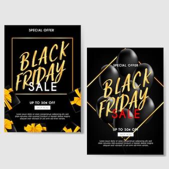 Venerdì nero brochure di vendita con palloncini dorati e regali