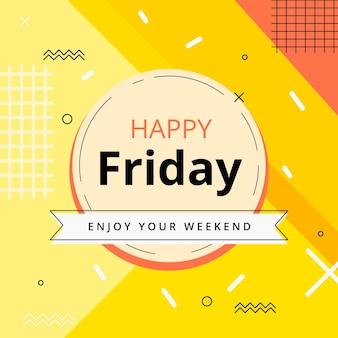 Venerdì goditi il tuo weekend sullo sfondo giallo