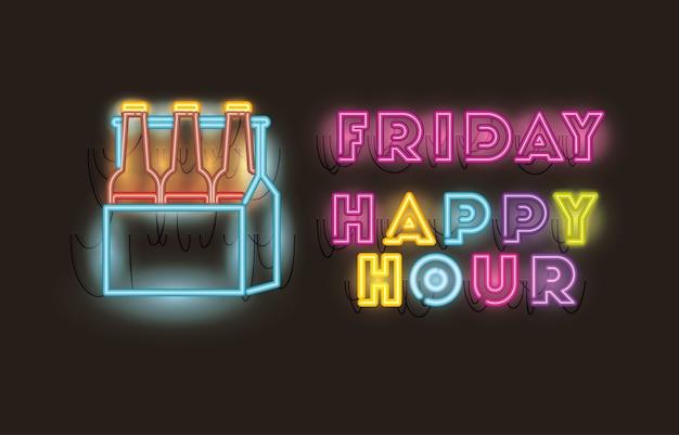 Venerdì happy hour con birre bottiglie nel cestino font luci al neon