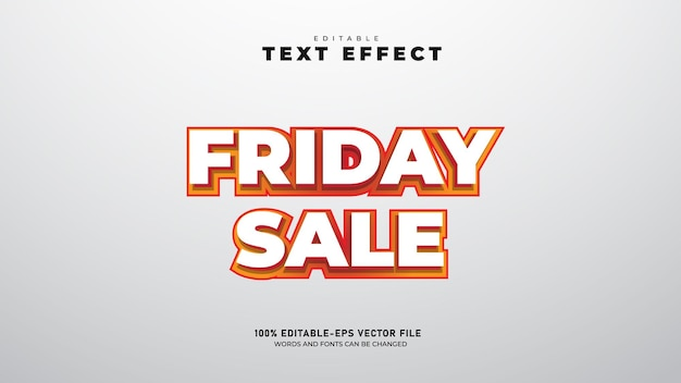 Vendita del venerdì modello di effetto testo 3d modificabile vettore premium