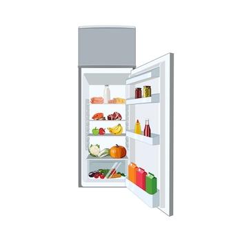 Frigo pieno di cibo, verdure, frutta, carne, pesce. frigorifero dieta sana. aprire il frigorifero illustrazione grafica