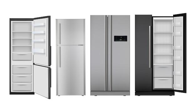 Frigo realistico. congelatore vuoto frigorifero domestico aperto e chiuso per set di alimenti sani.