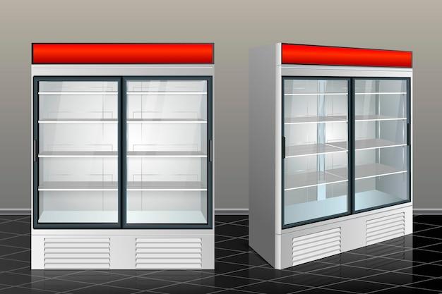 Frigorifero con vetro trasparente isolato. illustrazione vettoriale