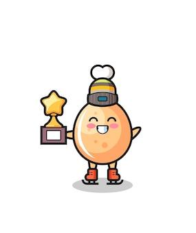 Il fumetto di pollo fritto come un giocatore di pattinaggio sul ghiaccio tiene il trofeo del vincitore, un design in stile carino per maglietta, adesivo, elemento logo