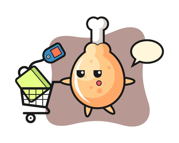 Fumetto di pollo fritto con un carrello della spesa