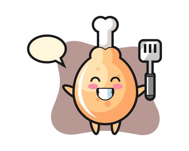 Il carattere del pollo fritto come chef sta cucinando