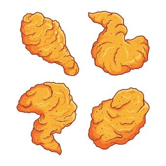 Insieme di arte di clip di pollo fritto