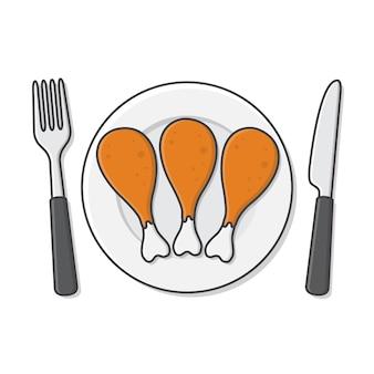 Cosce di pollo fritto sulla piastra con forchetta e coltello icona illustrazione