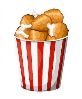 Pollo fritto nel secchio della striscia. illustrazione su sfondo bianco