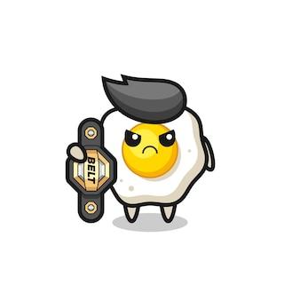 Personaggio mascotte dell'uovo fritto come combattente mma con la cintura del campione, design in stile carino per t-shirt, adesivo, elemento logo
