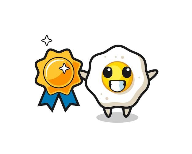 Illustrazione della mascotte dell'uovo fritto che tiene un distintivo dorato, design in stile carino per maglietta, adesivo, elemento logo
