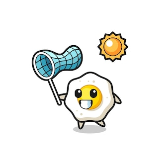L'illustrazione della mascotte dell'uovo fritto sta catturando la farfalla, il design in stile carino per la maglietta, l'adesivo, l'elemento del logo