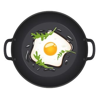 Uova fritte con la rucola sulla padella, vista superiore. illustrazione isolata