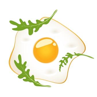 Uova fritte con rucola, illustrazione isolata.