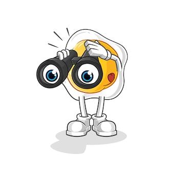 Uova fritte con carattere di binocolo. mascotte dei cartoni animati