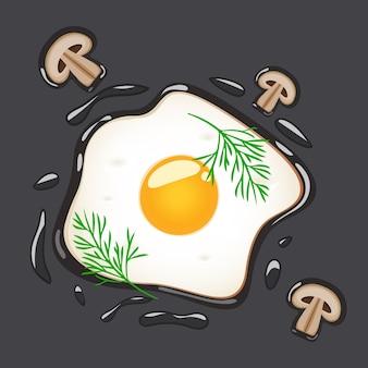 Uova fritte con aneto e funghi, illustrazione isolata.