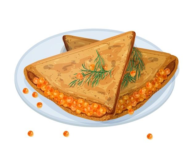 Frittelle fritte, blini o crepes farcite con caviale e sdraiato sul piatto isolato su bianco