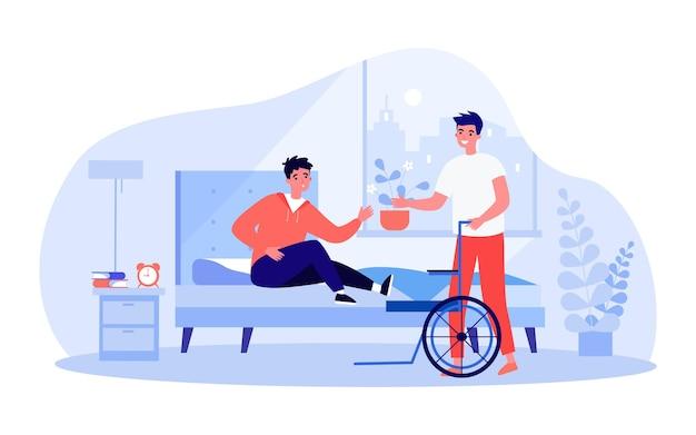 Amico o assistente che aiuta l'uomo a salire sulla sedia a rotelle dal letto. persona disabile nell'illustrazione piana di vettore della camera da letto. assistenza, disabilità, concetto di amicizia per banner, design di siti web o landing page