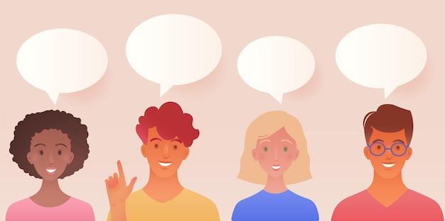 Illustrazione di concetto di discussione di gruppo di amici con cartone animato maschio e femmina