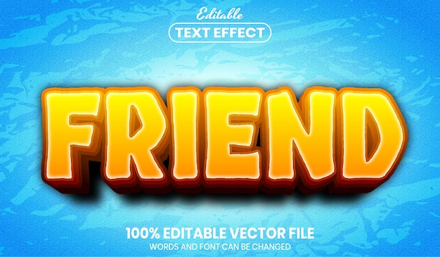 Testo amico, effetto testo modificabile in stile carattere