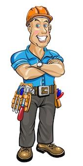 Amichevole costruttore con casco e cintura con attrezzi