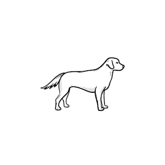 Icona di doodle di contorni disegnati a mano cane amichevole. animali domestici nella vita di città e concetto di camminata del cane di sicurezza