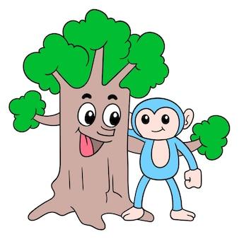 L'albero lussureggiante dalla faccia amichevole fa amicizia con le simpatiche scimmie nella foresta, illustrazione vettoriale. scarabocchiare icona immagine kawaii.