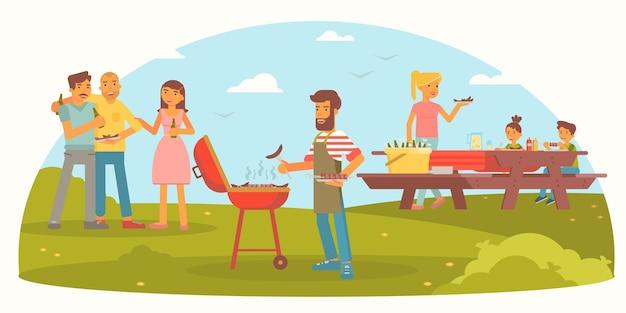 Famiglia amichevole sull'illustrazione del picnic uomini allegri, donne e bambini sulla festa barbecue