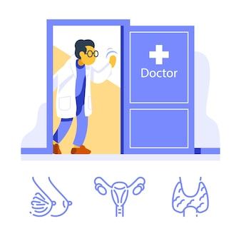 Amichevole dottoressa alla porta aperta accogliente, visita specialista, controllo sanitario annuale, sala esami medici