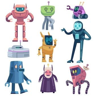 Dispositivi futuristici amichevoli personaggi di macchine elettriche e meccaniche dei cartoni animati