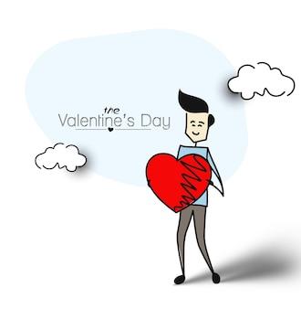 Uomo amichevole che tiene cuore rosso, design piatto. fondo di vettore di schizzo disegnato a mano del fumetto.